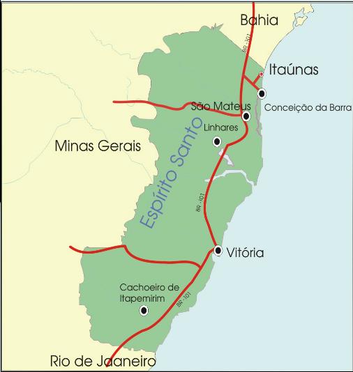 Mapa Como Chegar em itaúnas - ES